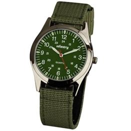 Infantry Herren Uhr Armbanduhr Männer Uhren Militäruhr Outdoor Herrenarmbanduhr Herrenuhren Militär Grün Nylonband - 1