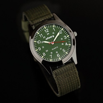 Infantry Herren Uhr Armbanduhr Männer Uhren Militäruhr Outdoor Herrenarmbanduhr Herrenuhren Militär Grün Nylonband - 4
