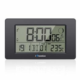 iTronics Digitale Funkwanduhr Tischuhr mit Temperaturanzeige & Countdown-Timer, Thermometer, Wecker und Kalender, Inklusive Batterie, Schwarz - 1