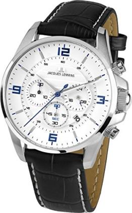 Jacques Lemans Damen Analog Quarz Uhr mit Leder Armband 1-1857B - 1