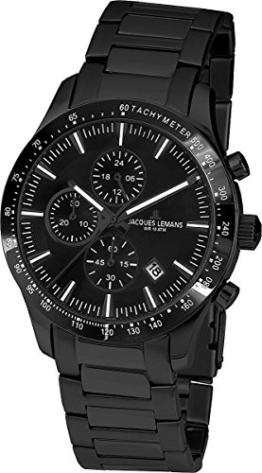 Jacques Lemans Herren Analog Quarz Uhr mit Edelstahl beschichtet Armband 1-1831C - 1