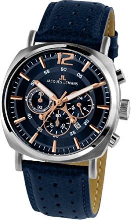 Jacques Lemans Herren Analog Quarz Uhr mit Leder Armband 1-1645I - 1