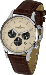 Jacques Lemans Herrenuhr Chronograph Quarz mit Lederarmband - 1-1654E - 1