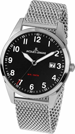 JACQUES LEMANS Herrenuhr Metallband massiv Edelstahl 1-2002H - 1