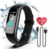 JAZIPO Fitness Armband mit Pulsmesser, Wasserdicht IP67 Fitness Tracker, Smartwatch GPS Aktivitätstracker, Vibrationsalarm Anruf/SMS, für Damen Männer - 1