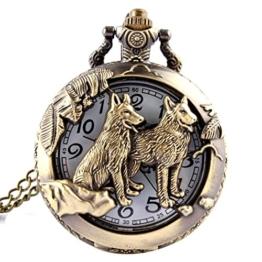 joyliveCY Taschenuhr mit Wolf-Motiv, mit Quarz-Uhrwerk und Halskette, cooler Stil, antiker Stil, hohl, Bronze - 1
