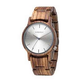 Kerbholz Holzuhr - Classics Collection Gitta analoge Quarz Uhr für Damen, Gehäuse und verstellbares Armband aus massivem Naturholz, Ø 35mm - 1