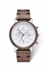KERBHOLZ Holzuhr - Classics Collection Johann Quarz Uhr, Chronograph für Herren, Gehäuse und verstellbares Armband aus massivem Naturholz, Ø 45mm, Walnuss Silber Weiß - 1