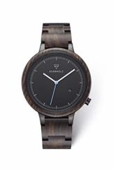 KERBHOLZ Holzuhr - Classics Collection Lamprecht analoge Quarz Uhr für Herren Gehäuse und verstellbares Armband aus massivem Naturholz, Ø 42mm, Sandelholz Schwarz - 1