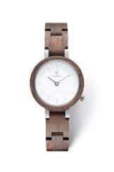 KERBHOLZ Holzuhr - Classics Collection Matilda analoge Quarz Uhr für Damen, Gehäuse und verstellbares Armband aus massivem Naturholz, Ø 27mm, Walnuss Weiß - 1