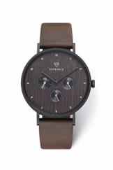 KERBHOLZ Holzuhr Uhr - Elements Collection Caspar analoger Herren Chronograph, Naturholz Ziffernblatt, echtes Lederarmband, Ø 42mm, Walnuss Braun - 1