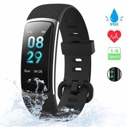 KUNGIX Fitness Armband, 0,96 Zoll Schrittzähler Uhr IP68 Wasserdicht Smartwatch Fitness Tracker mit Pulsmesser Herzfrequenz 14 Modi Smart Watch für Damen Herren iOS Android Kompatibel(Schwarz) - 1