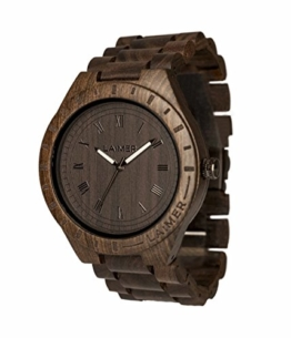LAiMER Herren-Armbanduhr  BLACK EDITION Mod. 0018 aus Sandelholz - Analoge Quarzuhr mit braunem Holzarmband - 1
