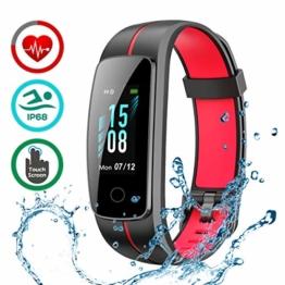 LATEC Fitness Armband mit Pulsmesser, IP68 Wasserdicht Fitness Tracker Farbbildschirm Aktivitätstracker Pulsuhren Schrittzähler Uhr Smartwatch 14 Trainingsmodi Musiksteuerung Stoppuhr SMS Nachrichten - 1