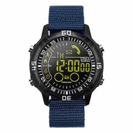 LGPNB Intelligente Sportuhr Militäruhr im Freien Telefoninformationserinnerung Tiefe wasserdichte Bluetooth Eignung Pulschronograph Geschäftsart und weisestudent-elektronische Uhr-Blue - 1