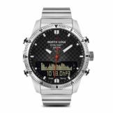 Lixada Mann-Sport-Digital-Analoguhr-Taucheruhr-volle Stahlgeschäfts-Armbanduhr-Höhenmesser-Kompass 100m wasserdicht - 1