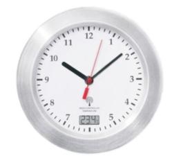 Mebus Funk Wanduhr Aluminium Saugnäpfe Thermometer Uhr 17 cm Funkuhr Badezimmeruhr (Weiss) - 1