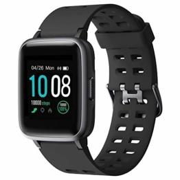 (Neuest 2019) GRDE Smartwatch, Bluetooth V5.0 Fitness Armbanduhr 1,3 Zoll Voll Touchscreen 5ATM Wasserdicht Sportuhr mit Pulsmesser Schlafmonitor Musiksteuerung Anruf SNS für Damen Herren iOS Android - 1