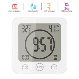 ONEVER Badezimmer-Uhr Digitale Luftfeuchtigkeit Temperatur Digitaluhr Timer Uhr LCD Display Touch Control Timer Alarm für Küche Badezimmer (Weiß) - 1