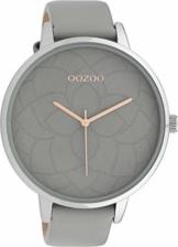 Oozoo Damenuhr mit Blüten Zifferblatt und Lederband 48 MM Grau/Grau C10101 - 1