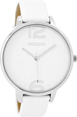 Oozoo Damenuhr mit Lederband 42 MM Weiss/Weiss C9530 - 1