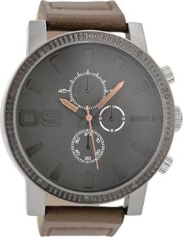 Oozoo Herrenuhr mit Lederband 50 MM Grau/Dunkelbraun C9032 - 1