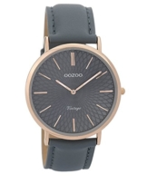 Oozoo Vintage Damenuhr Lederband 40 MM Rose/Blaugrau/Blaugrau C9338 - 1