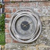 Outdoor Wanduhr Große zeitgenössische Gartendekoration Metall Bronze Effekt 50cm - 1