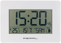 PEARL Digitale Funkwanduhr: Funk-Wanduhr mit Jumbo-Uhrzeit, Temperatur- & Datums-Anzeige, weiß (LCD Wanduhr groß) - 1
