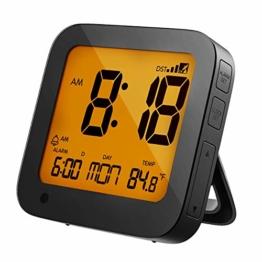 PICTEK Funkwecker, Funkwecker Digital, DCF-Funkuhr, Reisewecker, Wecker digital, Sensorgesteuerte Hintergrundbeleuchtung, LCD-Display, Temperatur- und Datumsanzeige Schlummerfunktion batteriebetrieben - 1