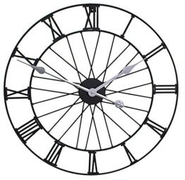Rad Metall Garten-Uhr in einem schwarzen Finish lackiert–Moderne Wanduhr–50cm - 1
