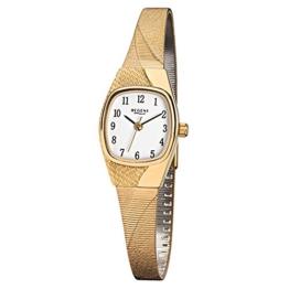 Regent Damen-Armbanduhr Elegant Analog Edelstahl-Armband gold Quarz-Uhr Ziffernblatt weiß URF624 - 1