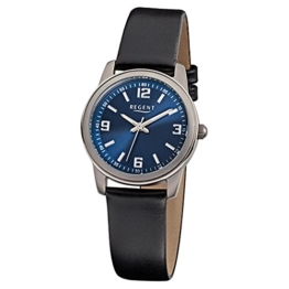 Regent Damen-Armbanduhr Elegant Analog Leder-Armband schwarz Quarz-Uhr URF867 - 1