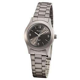 Regent Damen-Armbanduhr Elegant Analog Titan-Armband grau Quarz-Uhr Ziffernblatt anthrazit schwarz URF856 - 1