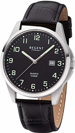 REGENT Herren-Armbanduhr Edelstahl analog Quarz Lederband schwarz F-1227 - 1