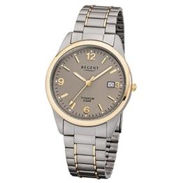 Regent Herren-Armbanduhr Elegant Analog Titan-Armband silber grau gold Quarz-Uhr Ziffernblatt braun URF1107 - 1