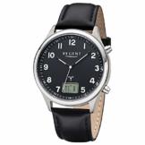 REGENT Herren-Armbanduhr Funkuhr Edelstahl analog-digital Quarz Lederband schwarz BA-447 - 1
