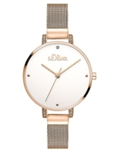 s.Oliver Damen Analog Quarz Armbanduhr mit Edelstahl Armband SO-3552-MQ - 1