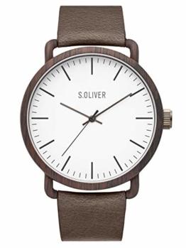 s.Oliver Herren Analog Quarz Uhr mit Leder Armband SO-3751-LQ - 1