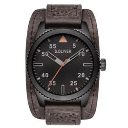 s.Oliver Herren-Armbanduhr Analog Quarz Leder SO-15152-LQR - 1