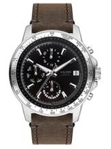 s.Oliver Herren Multi Zifferblatt Quarz Uhr mit Leder Armband SO-3487-LM - 1