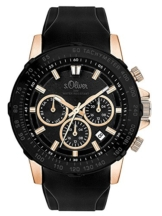 s.Oliver Herren Multi Zifferblatt Quarz Uhr mit Silikon Armband SO-3491-PM - 1