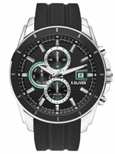 s.Oliver Herren Multi Zifferblatt Quarz Uhr mit Silikon Armband SO-3755-PM - 1