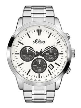 s.Oliver Time Herren Chronograph Quarz Uhr mit Edelstahl Armband SO-3334-MC - 1