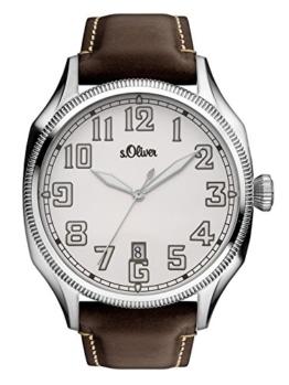 s.Oliver Time Herren Datum klassisch Quarz Uhr mit Leder Armband SO-3345-LQ - 1