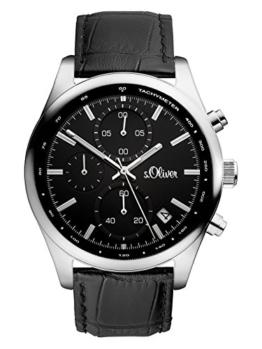 s.Oliver Time Herren Datum klassisch Quarz Uhr mit Leder Armband SO-3346-LC - 1