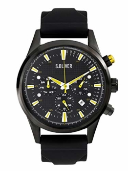 s.Oliver Time Herren Multi Zifferblatt Quarz Uhr mit Silikon Armband SO-3624-PM - 1