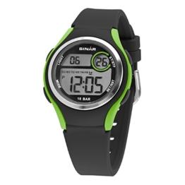 SINAR Jungen-Armbanduhr Jugenduhr Sport Outdoor Digital LCD Quarz 10 bar Licht Silikonband XE-64-3 - 1