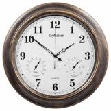 SkyNature Outdoor-Uhr wasserdicht, 45 cm Thermometer und Hygrometer, Vintage-Wanduhr, wetterfest, arabische Ziffern, dekorativ für Garten, Terrasse, Pool, Badezimmer - 1