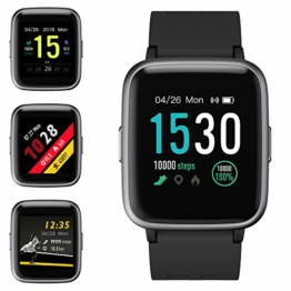 Smartwatch, Fitness Armband Tracker Voller Touchscreen 5ATM Wasserdicht Smart Watch Intelligente Aktivitäts Uhr Sportuhr, Damen Herren Pulsmesser Schlafmonitor SMS Beachten Armbanduhr für Android iOS - 1